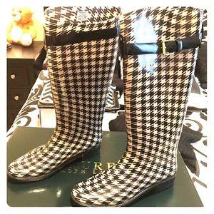 Ralph Lauren Houndstooth Rainboots. New w/o tags
